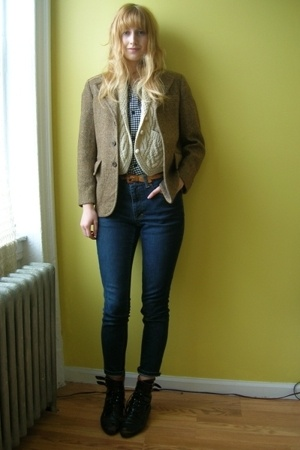 H&amp;M via boyfriend shirt - vintage vest - vintage from stoop sale blazer - vintag