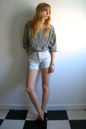 gray second hand blouse - blue second hand shorts - black vintage shoes