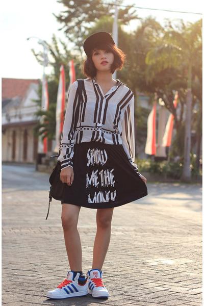 Adidas shoes - brain hat - justlabel shirt - sammydress skirt