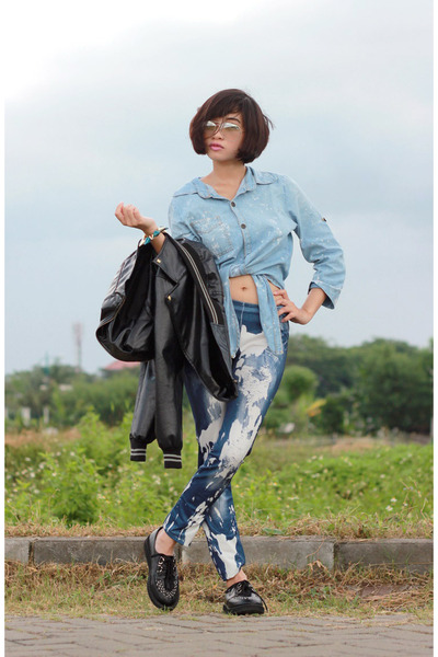 Starcross jacket - unknow brand leggings - rayban glasses - unbranded top