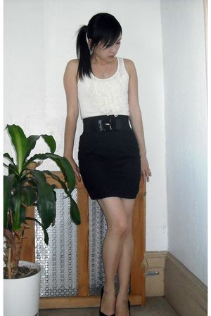 white Express blouse - black Express skirt - black BCBG Paris shoes