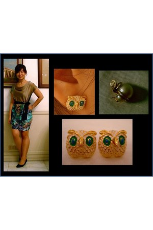 Celine dress - owl earrings Yhansy earrings