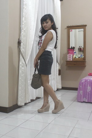 rubi wedges - Mango bag - Zara top - skirt