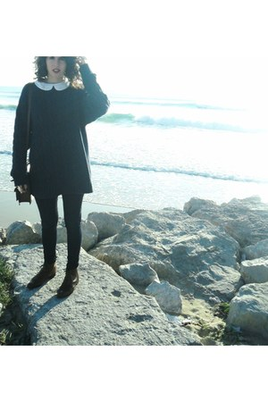 leather Zara bag - pull&bear shoes - twisted vintage sweater