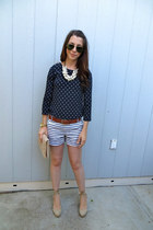Zara necklace - Aldo shoes - Gap shorts - JCrew top