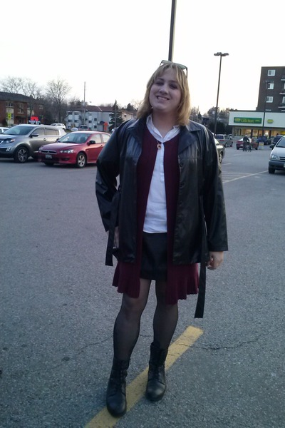 black boots - black jacket - maroon cardigan - black skirt - white top
