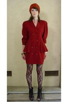 red Hwanwang coat - black Forever 21 shoes - orange Saks Fifth avenue hat