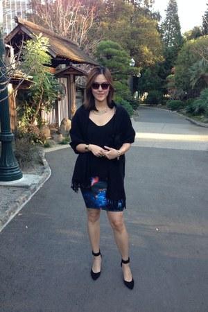 neoprene Zara skirt - H&M scarf - fauxfur H&M bag - tank Zara top