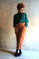 teal Urban Outfitters blouse - tawny Zara pants