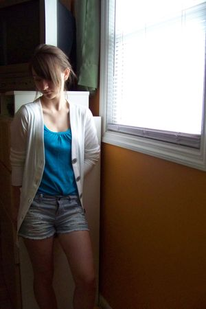 white cardigan - blue shirt - shorts