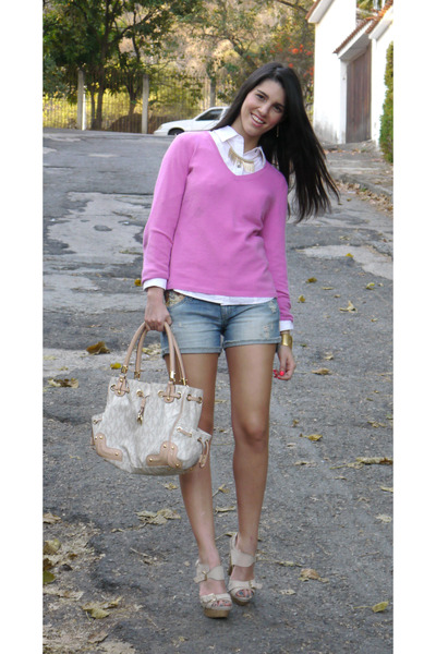 ann taylor sweater - DKNY shirt - Michael Kors bag - Stradivarius shorts