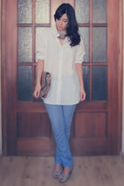 white H&M men shirt - sky blue Sfera jeans - tan vintage bag - tan Zara heels