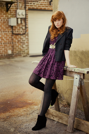 purple Secondhand dress - black wedges UO shoes