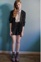 black floral Dr Martens boots - black sequins vintage jeans