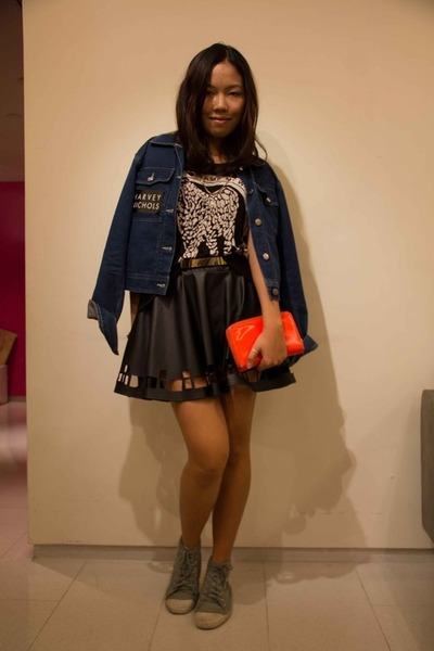 DIY skirt - denim AgnesB jacket - printed H&M t-shirt