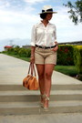 Ivory-calvin-klein-hat-dark-khaki-ann-taylor-shorts-off-white-mine-blouse