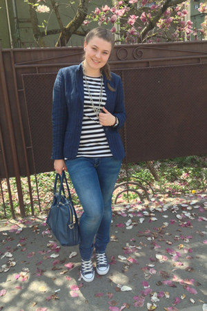 H&M blazer - Only jeans - Prada bag - All star sneakers - D&G watch - F&F blouse