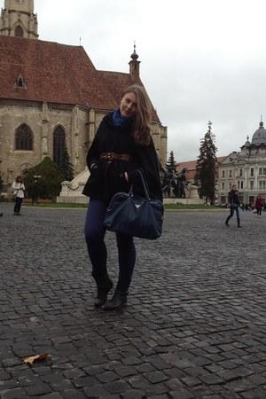 black Oasis cape - navy boots - navy scarf - navy Prada bag - brown vintage belt