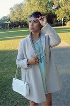 light pink Topshop coat - Chanel bag - camel Ray Ban sunglasses