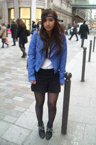 blue H&M jacket - white H&M shirt - black MORGAN shorts - black Zara shoes