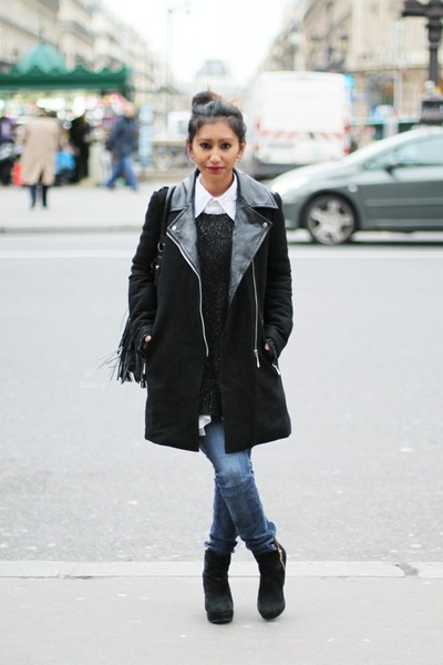 black biker coat Sheinside coat - black asos wedges