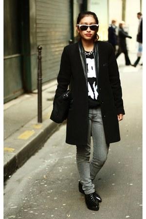 black The Kooples vest - black Choies hoodie - black OASAP wedges