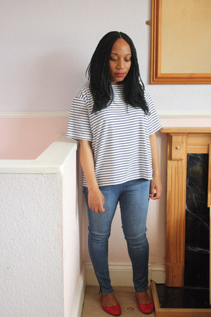 H&M jeans - stripes Topshop shirt - red French Sole flats