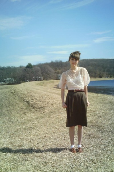 pink Grandmas blouse - brown thrifted belt - green thrifted skirt - white Foreve