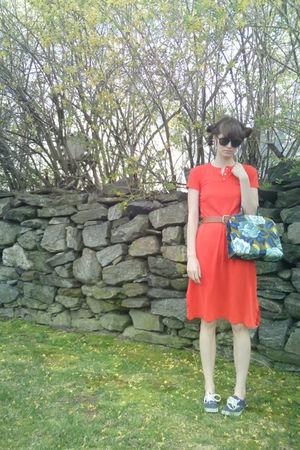 orange Vintage Lanz dress - brown thrift belt - blue Vans shoes - blue Vintage M