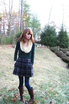forest green Forever 21 sweater - navy Gap skirt - cream thrifted accessories -