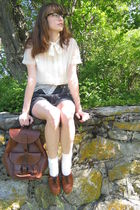 white Grams blouse - black DIY shorts - white Target socks - brown thrifted shoe