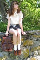 white Grams blouse - black DIY shorts - white Target socks - brown thrifted shoe