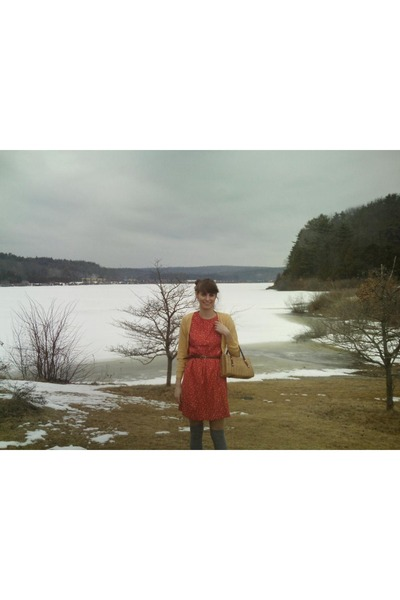 gold Forever 21 sweater - orange thrift dress - brown thrift belt - gray Target