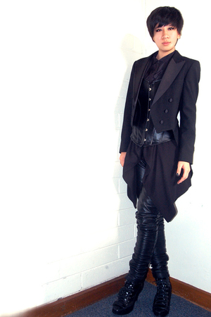 vintage from Ebay jacket - - vest - custom made leggings - Mango boots