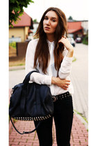 black Mizensa bag - white Zara shirt - black Zara pants