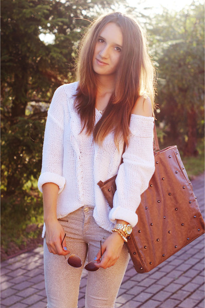 cream River Island wedges - burnt orange Stradivarius bag - white H&M jumper