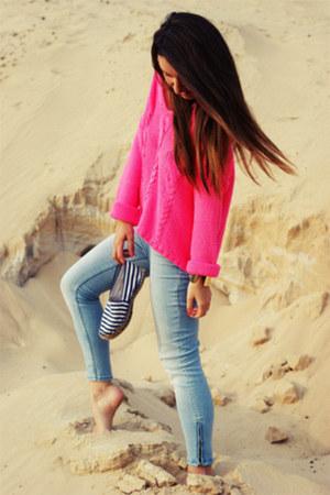 light blue River Island jeans - navy Primark shoes - hot pink H&M sweatshirt