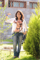 white Ikarus shirt - navy Fiorucci jeans