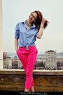 Blue-shirt-shirt-hot-pink-h-m-pants