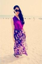 magenta Mango dress - amethyst Forever21 skirt