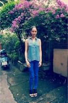 blue Mango jeans - sky blue H&M top