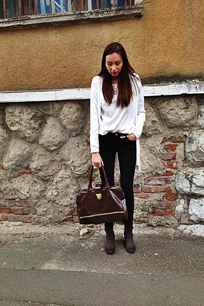 H&M blazer - Local store boots - H&M blouse - c&a jumper