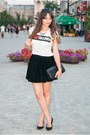 White-bershka-shirt-black-romwe-skirt-silver-h-m-necklace