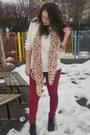Maroon-bershka-jeans-light-pink-heart-print-ebay-scarf