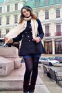 Black-ebay-coat-black-black-beret-lefties-hat-black-geometric-tights