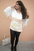white fringe sleeves Stradivarius sweater - black thrifted leggings