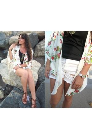 white diy Pimkie shorts - light yellow Ebay sunglasses - black Atmosphere top