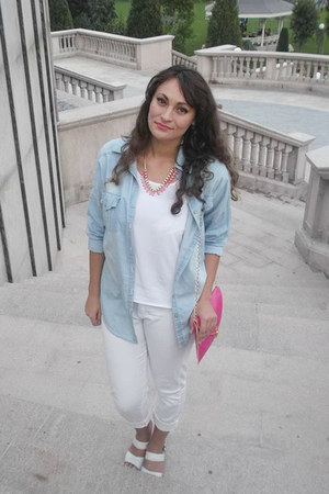 white white Pimkie jeans - light blue romwe shirt - hot pink Ebay bag