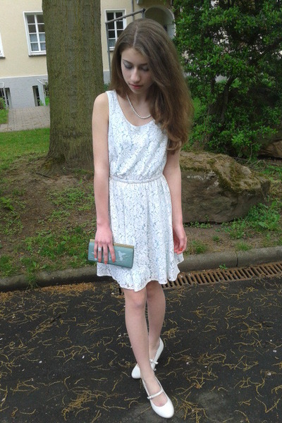 white flats - lace dress - clutch bag - moon stone ring