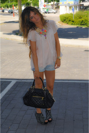 black Marc Jacobs purse - pink Topshop shirt - Zara jeans - black Zara shoes - g